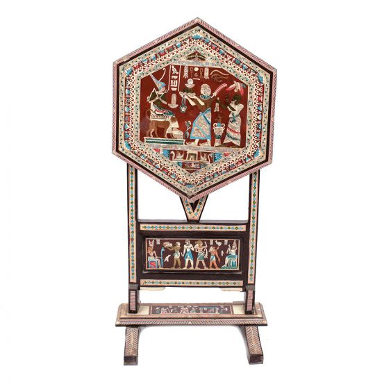 Ancient Egyptian Scenes Table handmade of Mahogany wood and Inlaid with Mothers of pearls, Egyptian Tables