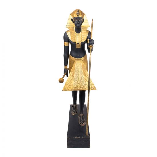 Life-sized statue of King Tut wearing Nene's hairdresser with serious, made of Mahogany wood is covered with black paint and Golden sheets