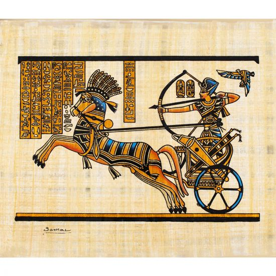 Masterpiece Egyptian papyrus portrait of the Royal Chariot of Ahmose