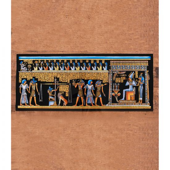 Ancient Egyptian Handmade papyrus Portrait shows the scene of Osiris court