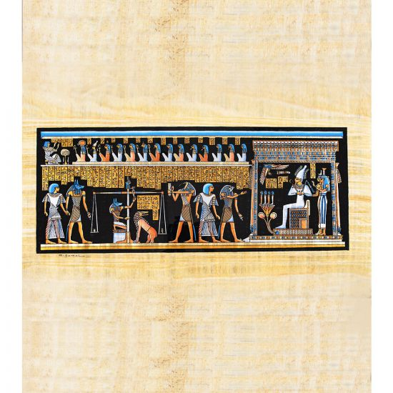 Egyptian Handmade papyrus Portrait shows the scene of Osiris Court