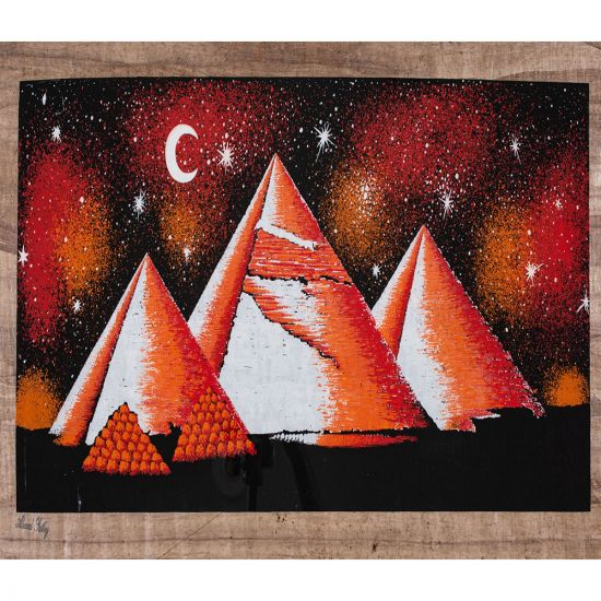 Egyptian Papyrus portrait of The Great pyramids scene over the night