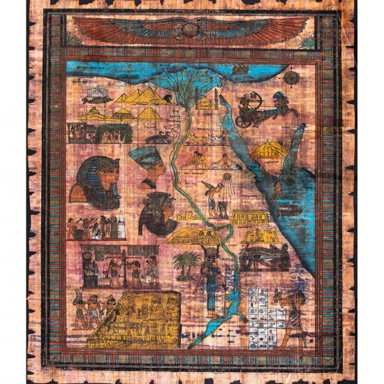 Handmade papyrus for the map of Egypt, popular kings and queens of Ancient Egypt depicted all over the Egyptian land.