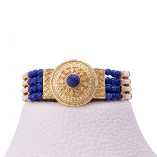 Gold Egyptian styled Bracelet adorned with Real Lapis Stones, Gemstone Bracelet