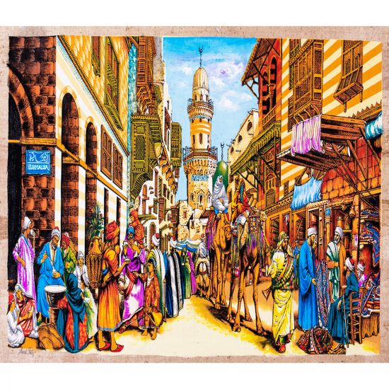 Rotyal handmade papyrus with a gouache painting with Al-Moez Street daily life, Al Moez Street