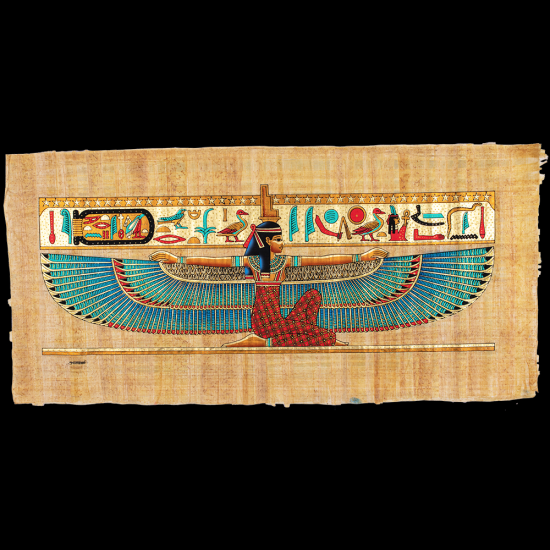 Ancient Egyptian Papyrus Replica is handmade of genuine paper with gouache paint of Queen Isis spreading her wings, Egyptian papyrus paintings price