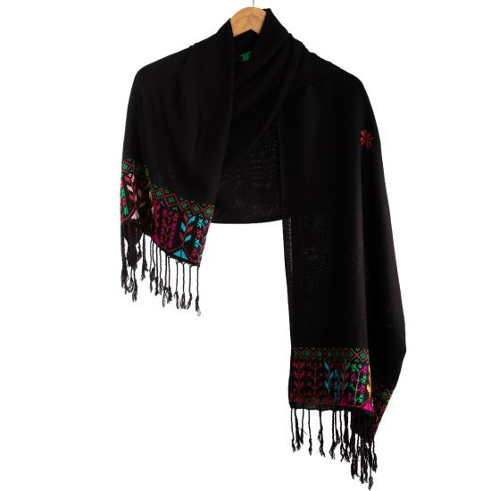 Black Egyptian Cotton Shawl with Arish Tribal Embroidery