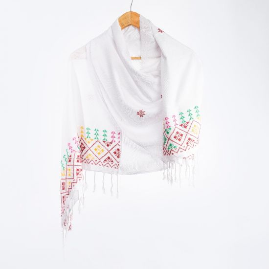 White Egyptian Cotton Shawl with Arish Tribal Embroidery