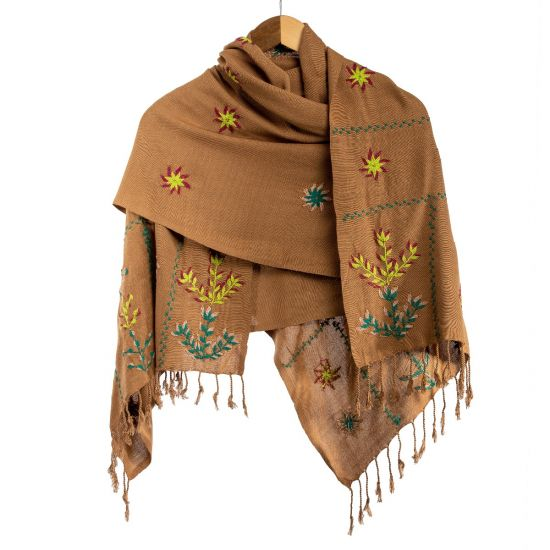 100% Egyptian Cotton Light Brown Saint Catherine Embroidered Shawl