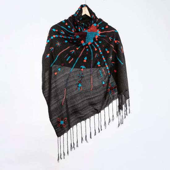 Squared Black Shawl Embroidered in Blue and Red Tribal Patterns
