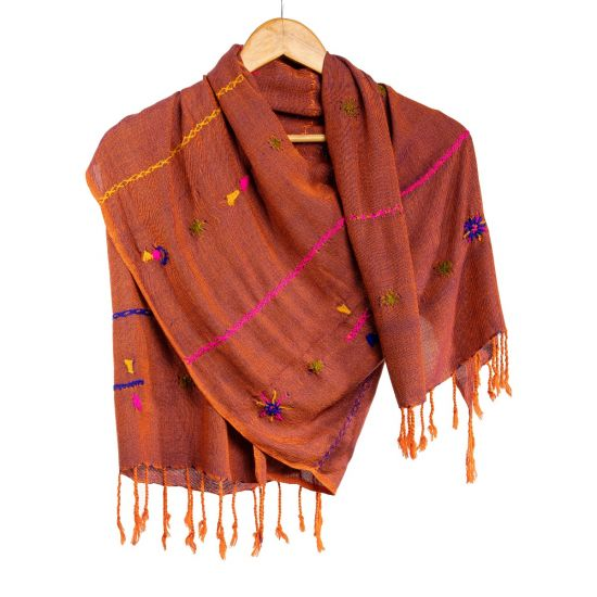 Brownish Red Cotton Shawl Handwoven and Embroidered in Beautiful Tribal Patterns