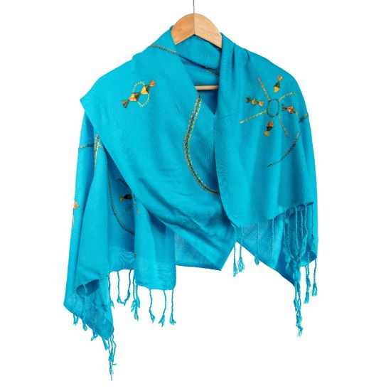 Handwoven 100% Egyptian Cotton Light Blue Shawl with Beautiful Tribal Embroidery