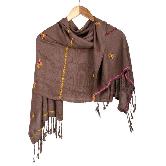Brown Handwoven Cotton Shawl Embroidered in the Essence of Siwa Oasis