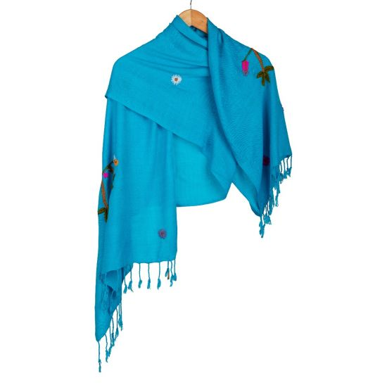 Handwoven 100% Egyptian Cotton Light Blue Shawl Enriched with Colorful Embroidery
