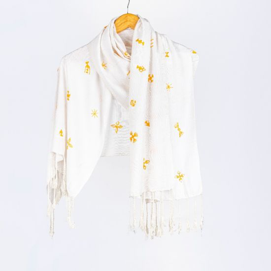 White Cotton Shawl Embroidered in Yellow Tribal Patterns