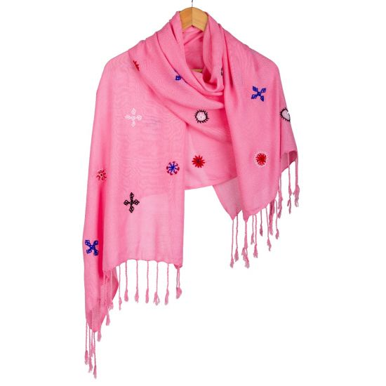 Handwoven 100% Egyptian Cotton Vibrant Pink Shawl Enriched with Tribal Embroidery