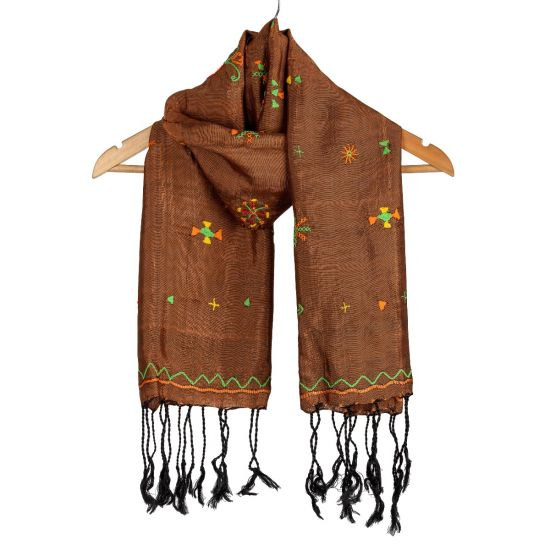 Beautiful Brown Silk Shawl Embroidered in Siwa Oasis Tribal Essence