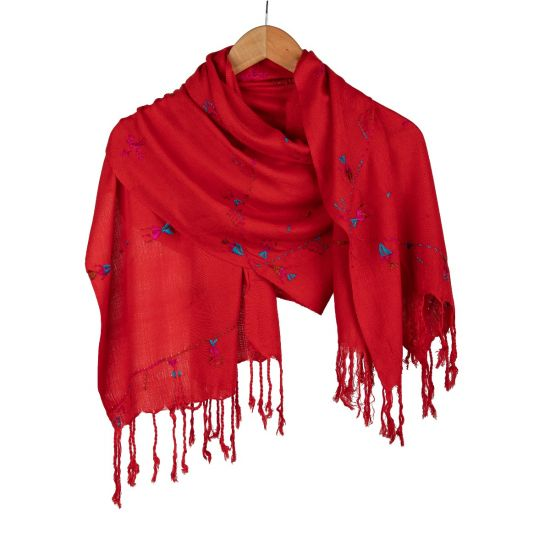 Handwoven 100% Egyptian Cotton Red Shawl Enriched with Siwa Oasis's Embroidery