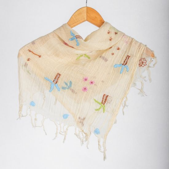 Creamy Cotton Scarf Inspired by Siwa Oasis Embroidery