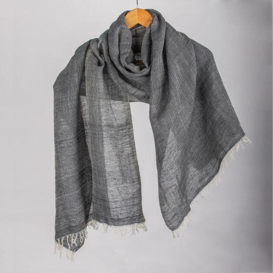 Elegant Handwoven Plain Egyptian Linen Shawl