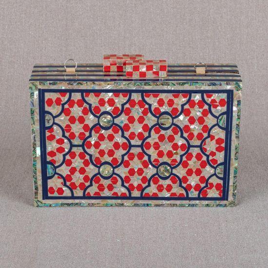 Red Clutch Purse | Mother of Pearl Bag | Mother of Pearl | Mother of Pearl Clutches | Mother of Pearl Purse | Pearl Bag | Swan Bazaar