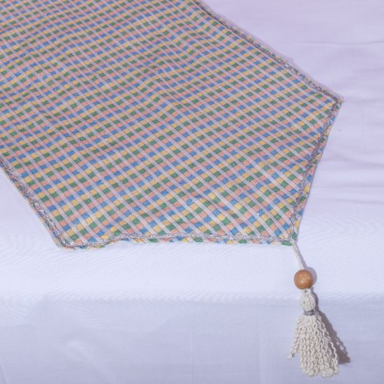 Multi-Pastel Colorful Coverlet with Beige fringes