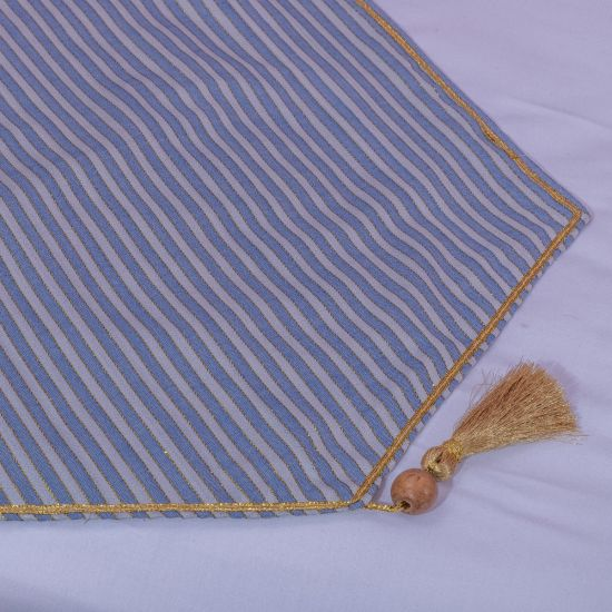 Blue Pastel Coverlet Accented with a Golden Thread
