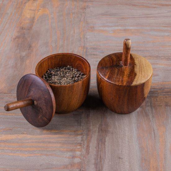 wooden spice jar