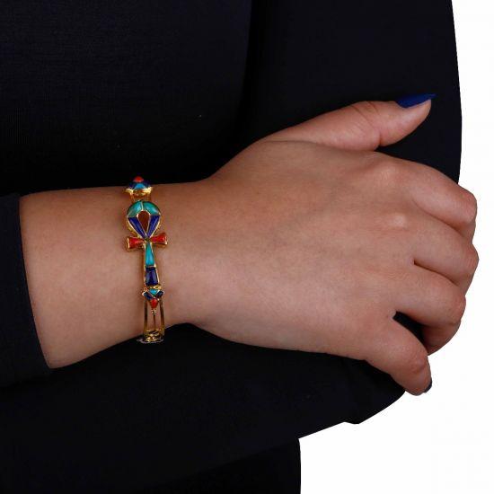 Key of life Gold Bangle bracelet adorned with precious stones
