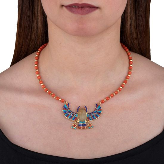 18k Gold and Precious Stone Beaded Winged Scarab Necklace