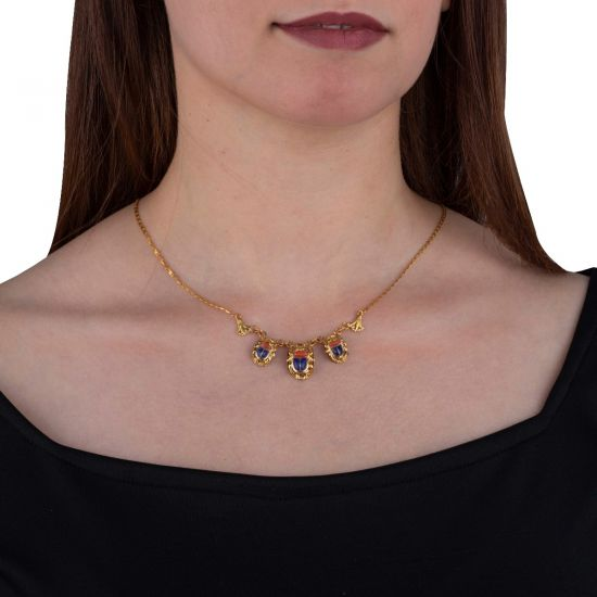18k Gold Scarab Necklace adorned with Precious stones