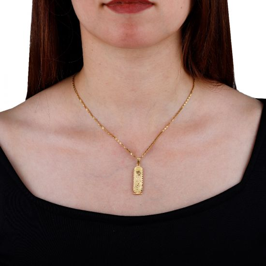 Double-Faced Gold Cartouche Pendant 5gm with Free Shipping