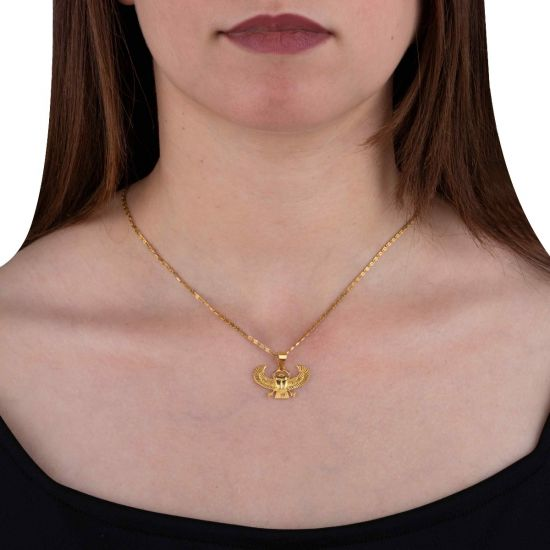Golden Winged Scarab Pendant