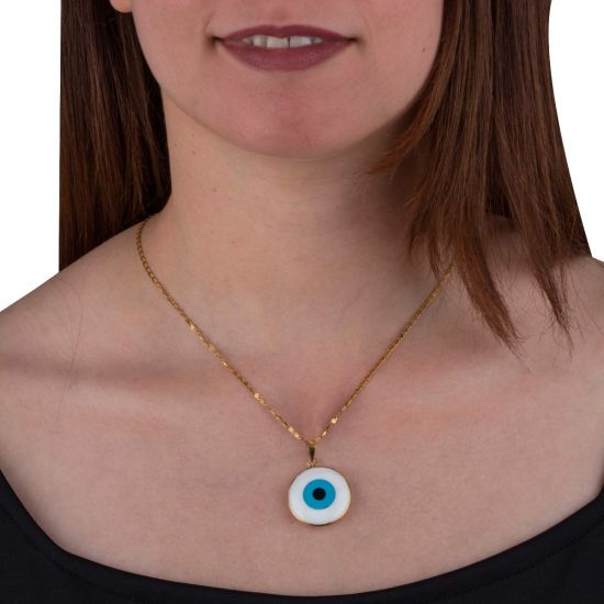 Gold framed Evil Eye made from semi-precious stones Protection Amulet