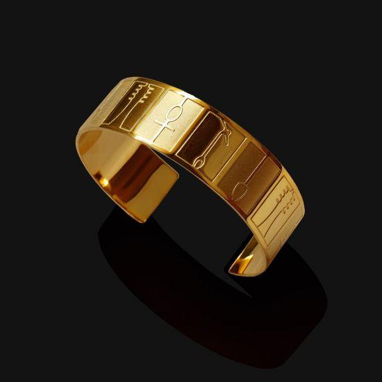 Hieroglyphics (Ankh) Cuff Bracelet Plated With 18K Gold