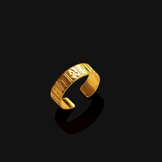 Hieroglyphics (Ankh) Ring Plated With 18K Gold