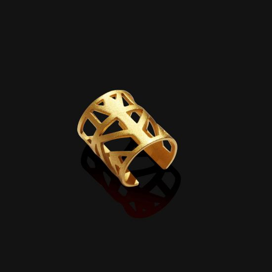 A Lotus Pharaonic-Style Ring Plated With 18K Gold