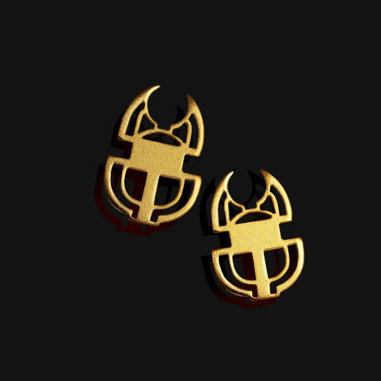 Scarab Earring Plated With 18K Gold
