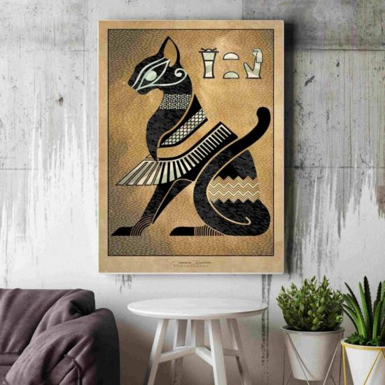 Ancient Egyptian Goddess Bastet Modern Mixed Media Print on Large Canvas