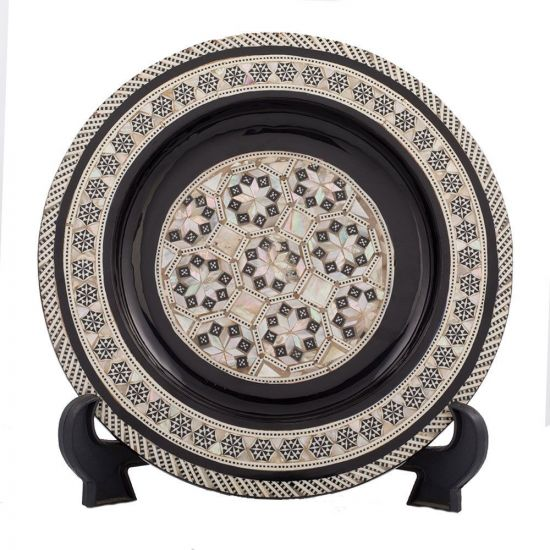 Front Image, Handmade Arabesque designed plate, inlaid with mother-of-pearl, Decorative Plate for sale