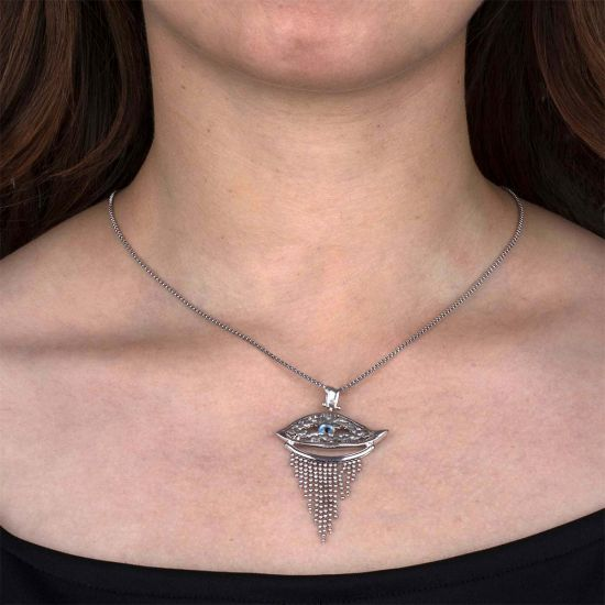 Evil Eye (Nazar) Sterling Silver Pendant with Crystal Quartz