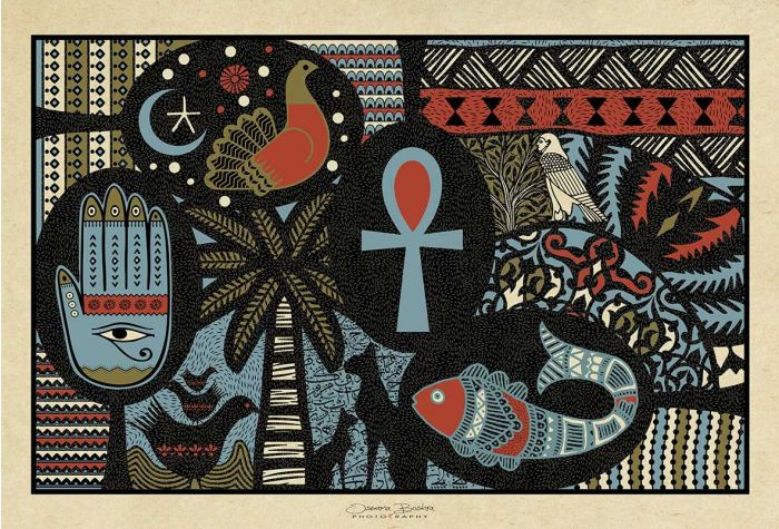 Egyptian Key of Life | Art Decor | Mixed Media Art | Swan Bazaar