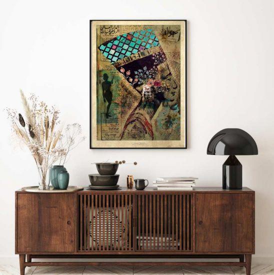 "Queen Nefertiti with a Vintage Twist 25"" x 32"" Canvas Print Art"