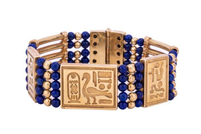 Pharaonic Designed Hand-Bracelet handmade of 18K Gold and inlaid with semi-precious stone, Lapis Gold Bracelet