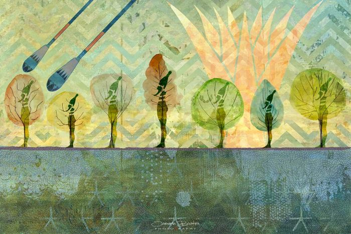 """Field of Reeds Scene Mixed Media Print on Large 25"""" x 35"""" Canvas"""
